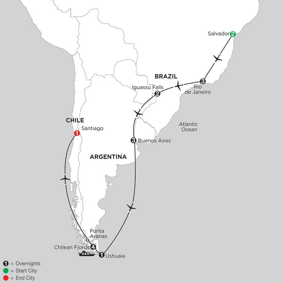 South American Selection with Salvador and Chilean Fjords Cruise (ISIX2019)