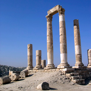 Amman, the capital of Jordan, is ideally situated in a hilly area between the desert and the fertile Jordan Valley
