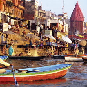 View the Hindus devotional bathing along the Ganges River in Varanasi