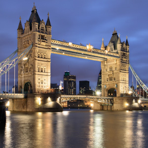 London's Tower Bridge over the River Thames