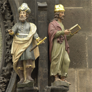 Beautifully sculpted figures mounted on the Astronomical Clock