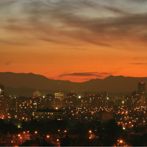 The beautiful skyline of Santiago at sunset