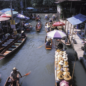 Do your shopping by boat at the popular Floating Market