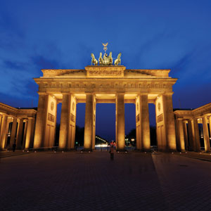 The Brandenburg Gate in Berlin serves as a symbol of peace and reunification of the city