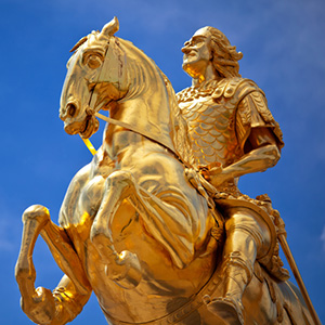 The golden equestrian sculpture of King/Elector Augustus II the Strong in Dresden, Germany