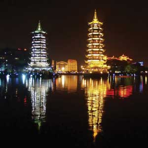 Illuminated pagodas on the bank of Fir Lake in Guilin
