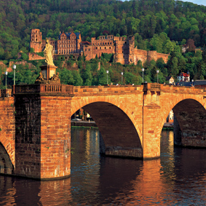 Heidelberg Castle on the hillside behind Old Bridge