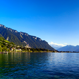 Lake Geneva stretches along Switzerlands southern border with France and is the largest lake in Europe