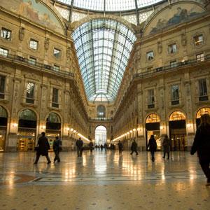 The Galleria Vittorio Emanuele shopping Center in Milan, Italy