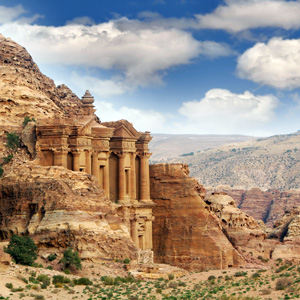 Petra, Jordan is famous for its rock cut architecture
