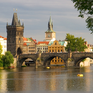 The Vltava River spans the west bank of Prague