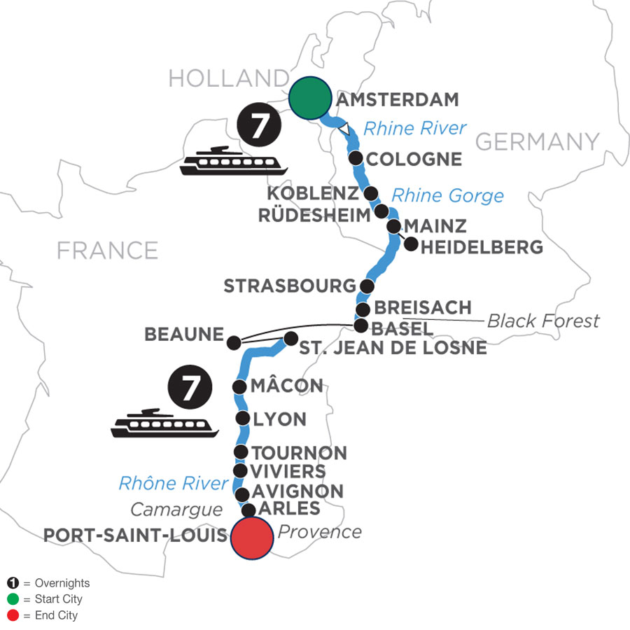 River Cruise Map of Rhine & Rhône Revealed (Southbound)