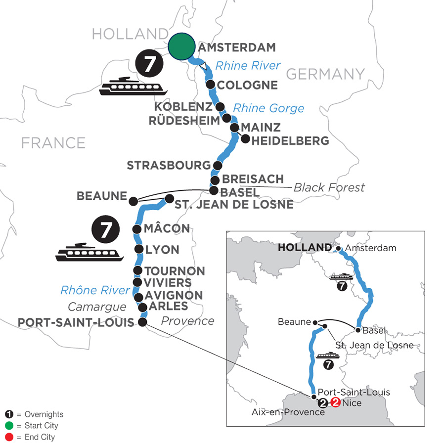 River Cruise Map of Rhine & Rhône Revealed with 2 Nights in Aix-en-Provence & 2 Nights in Nice for Wine Lovers (Southbound)