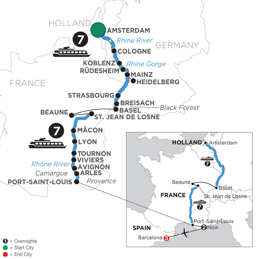 River Cruise Map of Rhine & Rhône Revealed with 2 Nights in Nice & 3 Nights in Barcelona for Wine Lovers (Southbound)