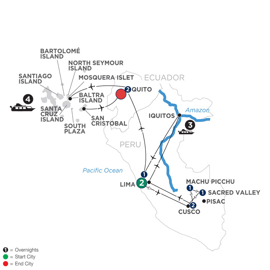 River Cruise Map of From the Inca Empire to the Peruvian Amazon with Galápagos Cruise