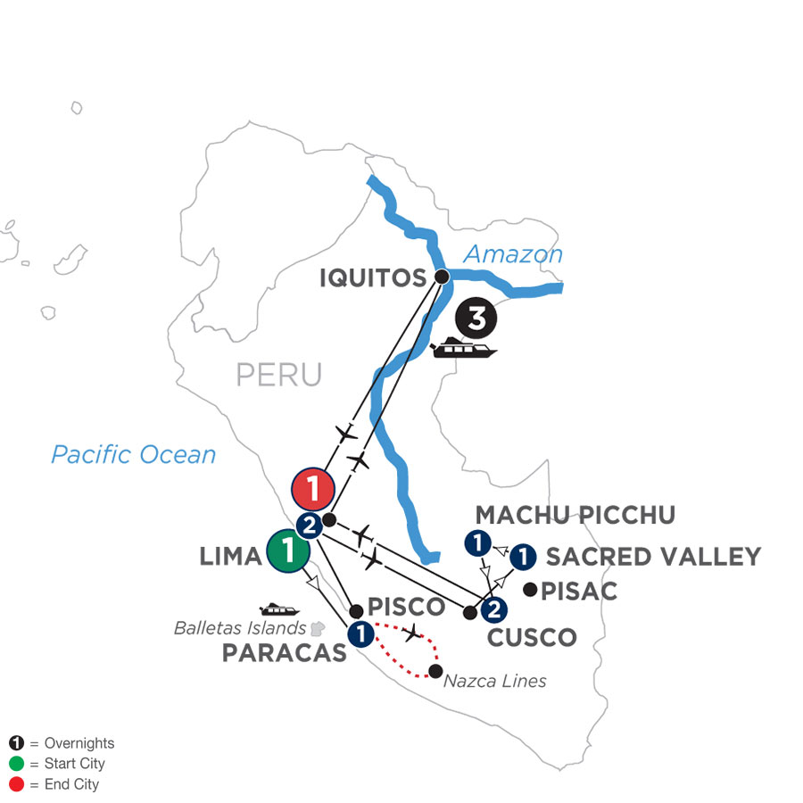 River Cruise Map of From the Inca Empire to the Peruvian Amazon with the Nazca Lines