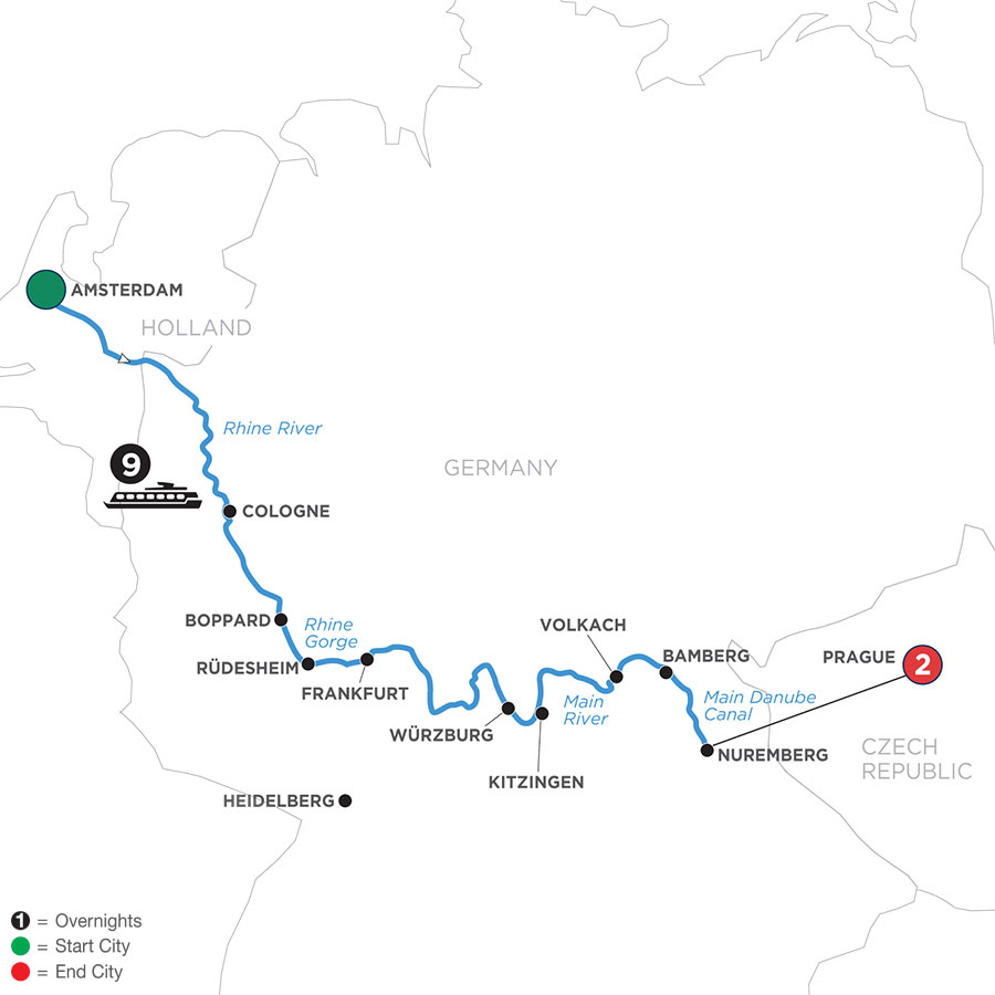 River Cruise Map of Grand German Sojourn with 2 Nights in Prague (Eastbound)