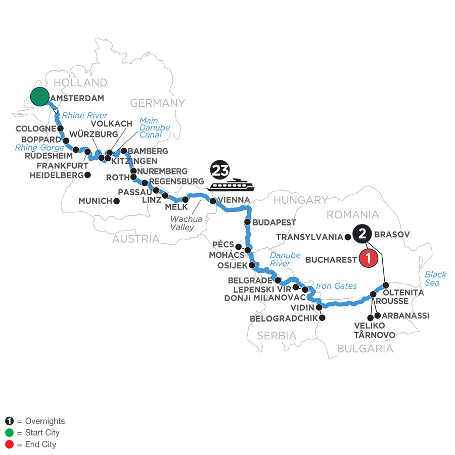 River Cruise Map of Iconic Rivers of Europe with 2 Nights in Transylvania