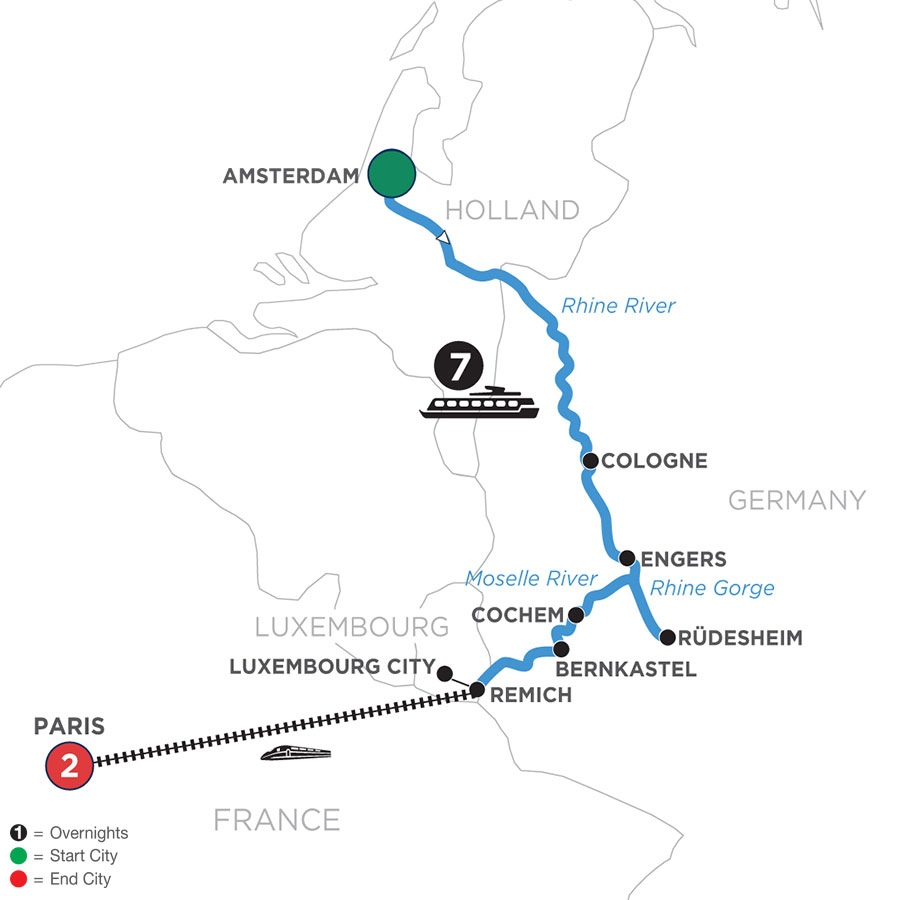 River Cruise Map of Canals, Vineyards & Castles with 2 Nights in Paris (Southbound)