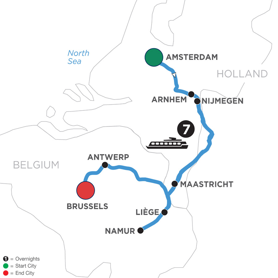 River Cruise Map of Tulip Time in Holland & Belgium WWI Remembrance & History Cruise