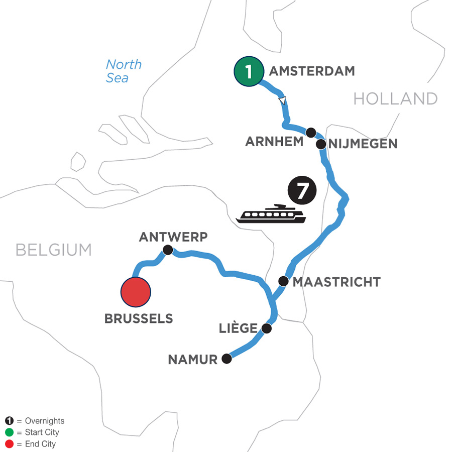 River Cruise Map of Tulip Time in Holland & Belgium WWI Remembrance & History Cruise with 1 Night in Amsterdam