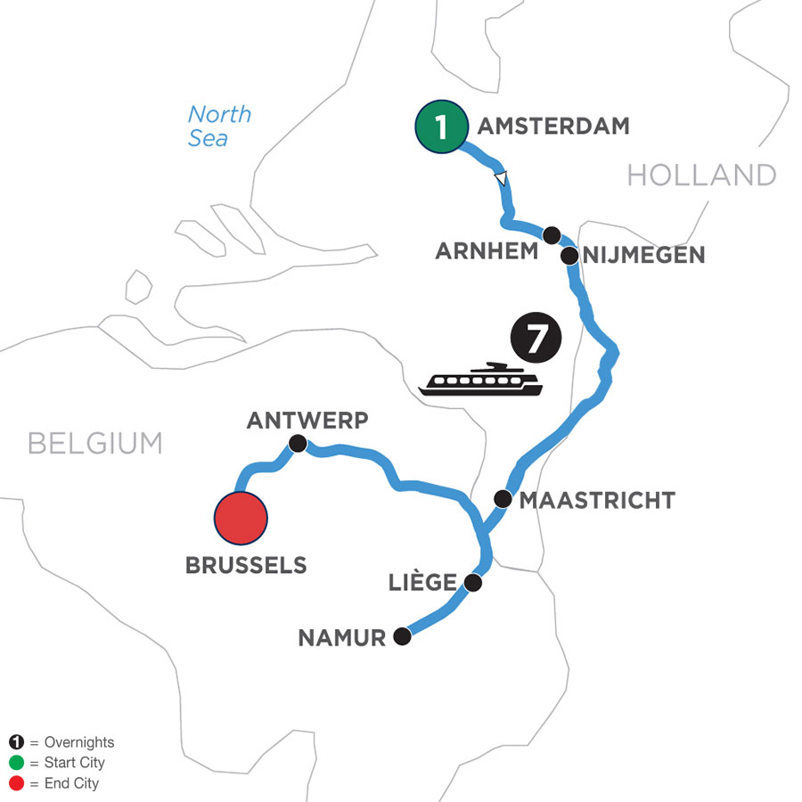 River Cruise Map of Tulip Time in Holland & Belgium with 1 Night in Amsterdam