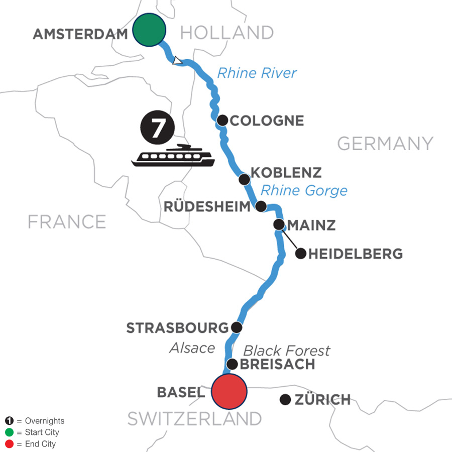 River Cruise Map of Festive Season on the Romantic Rhine (Southbound)