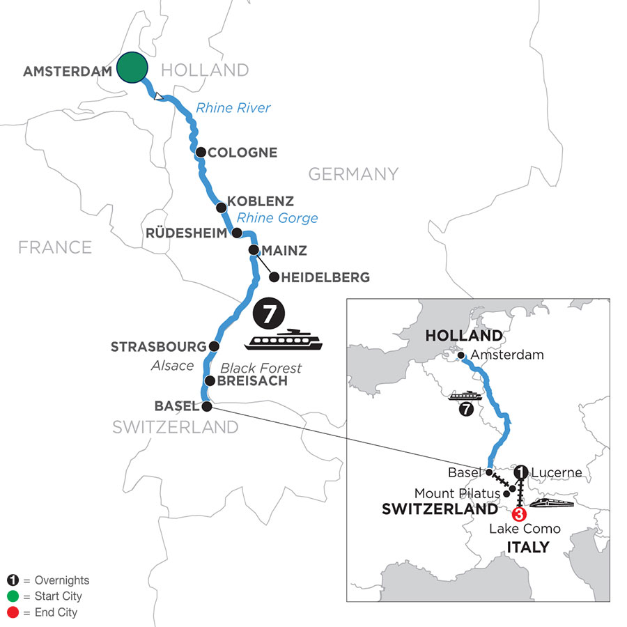 River Cruise Map of Romantic Rhine with Mount Pilatus, 1 Night in Lucerne & 3 Nights in Lake Como (Southbound)