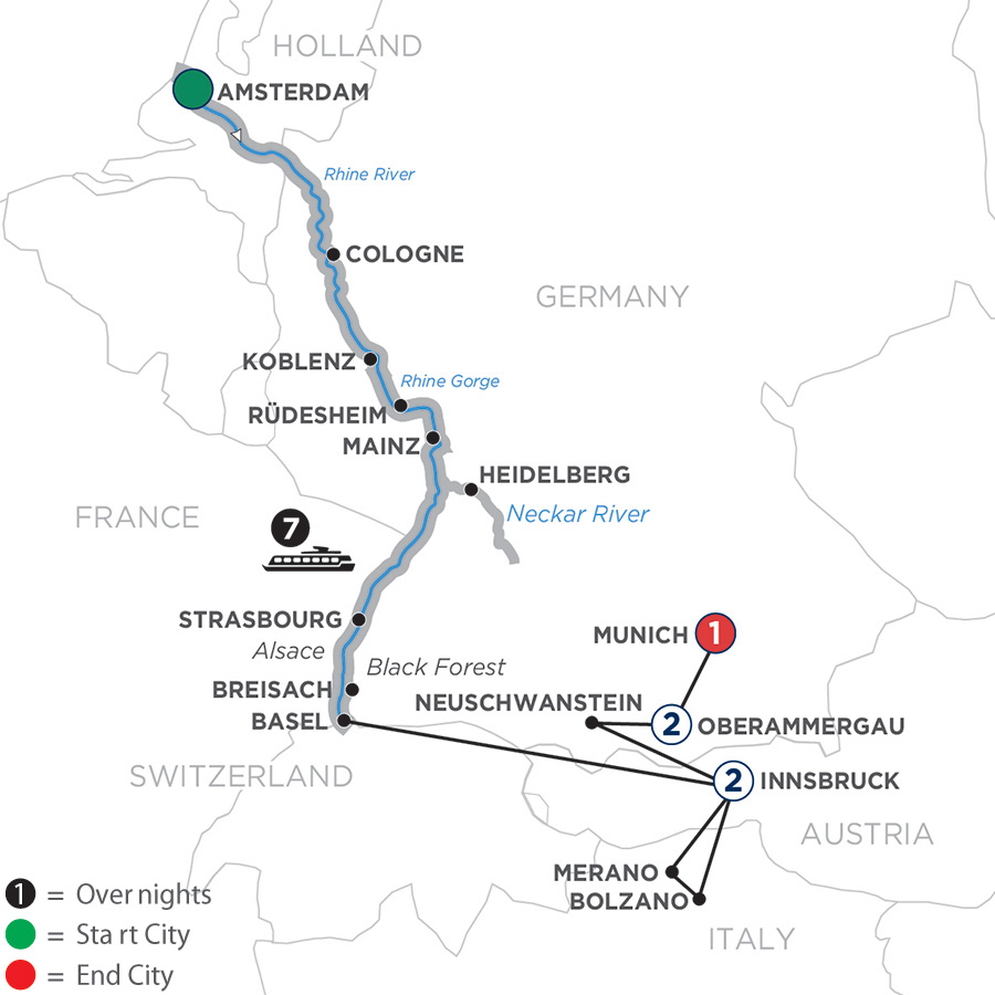 River Cruise Map of Romantic Rhine with 2 Nights in Innsbruck & Oberammergau
