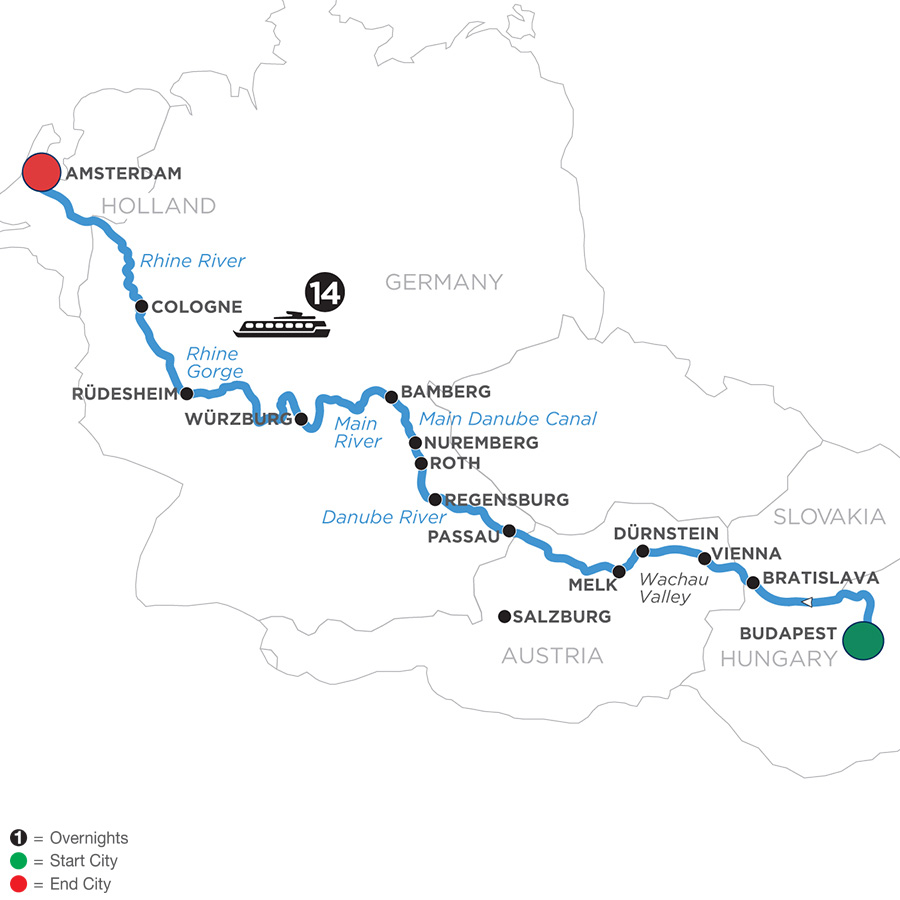 River Cruise Map of Magnificent Europe for Beer Enthusiasts (Westbound)