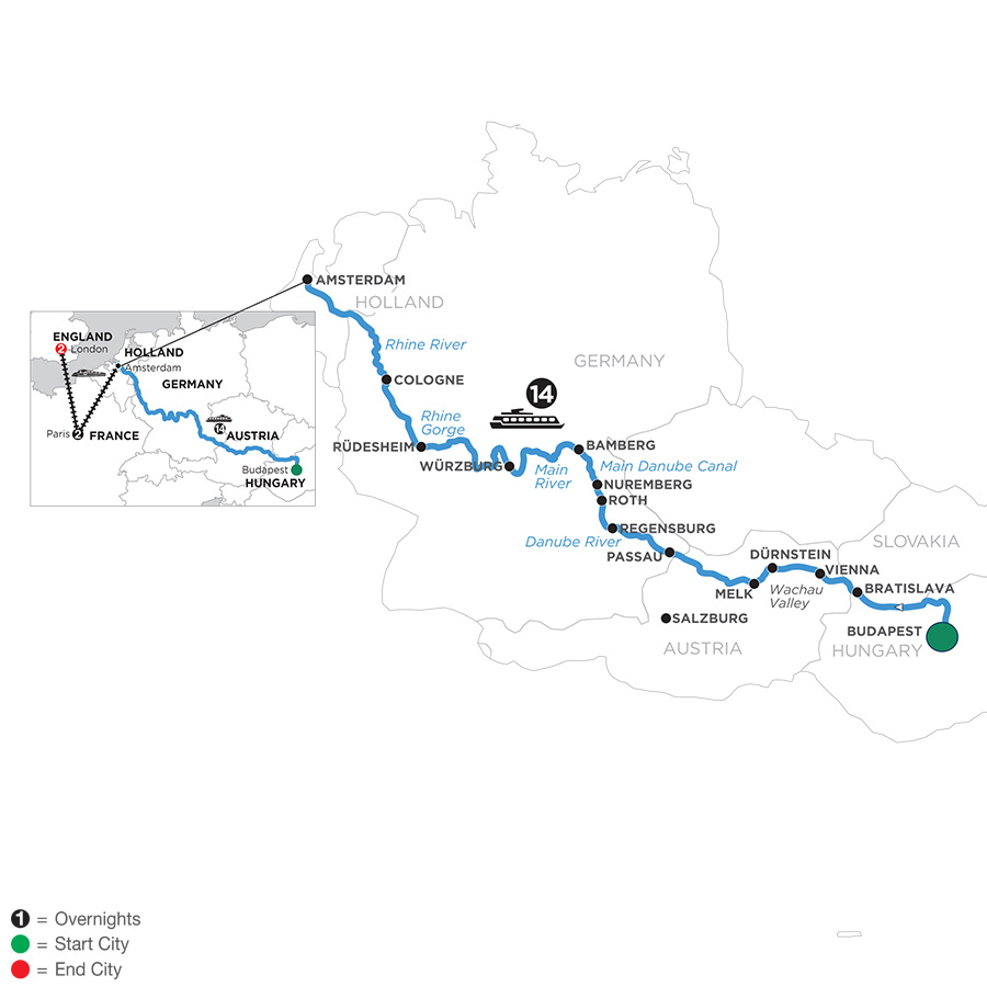 River Cruise Map of Magnificent Europe with 2 Nights in Paris & 2 Nights in London for Beer Enthusiasts (Westbound)