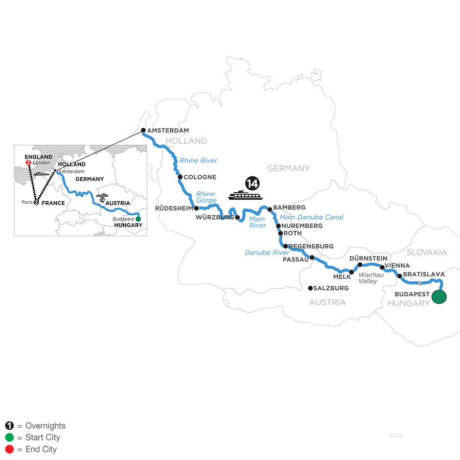 River Cruise Map of Magnificent Europe with 2 Nights in Paris & 2 Nights in London (Westbound)