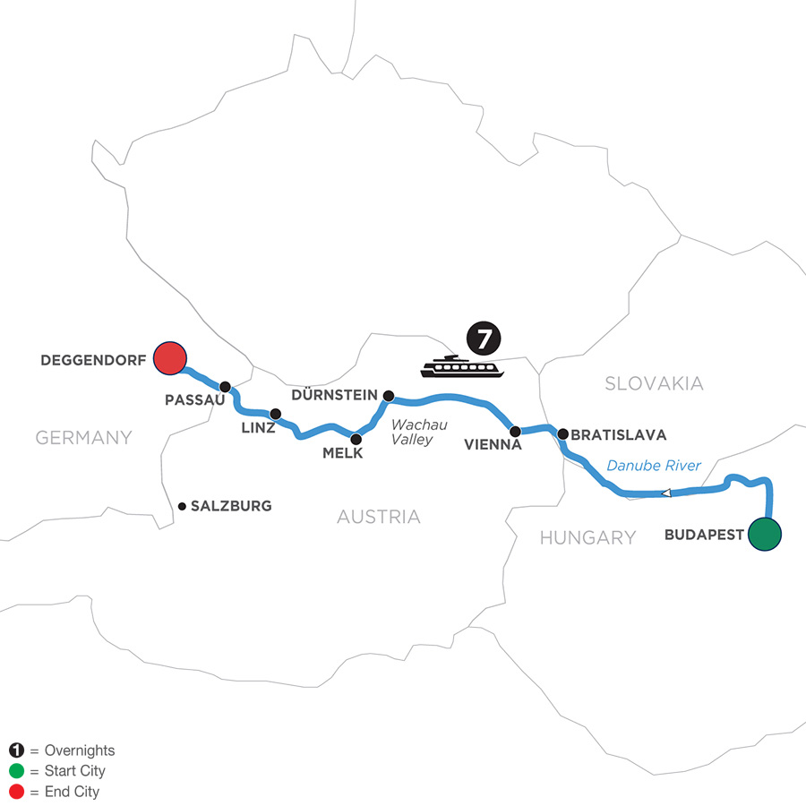 River Cruise Map of Danube Dreams for Wine Lovers (Westbound)