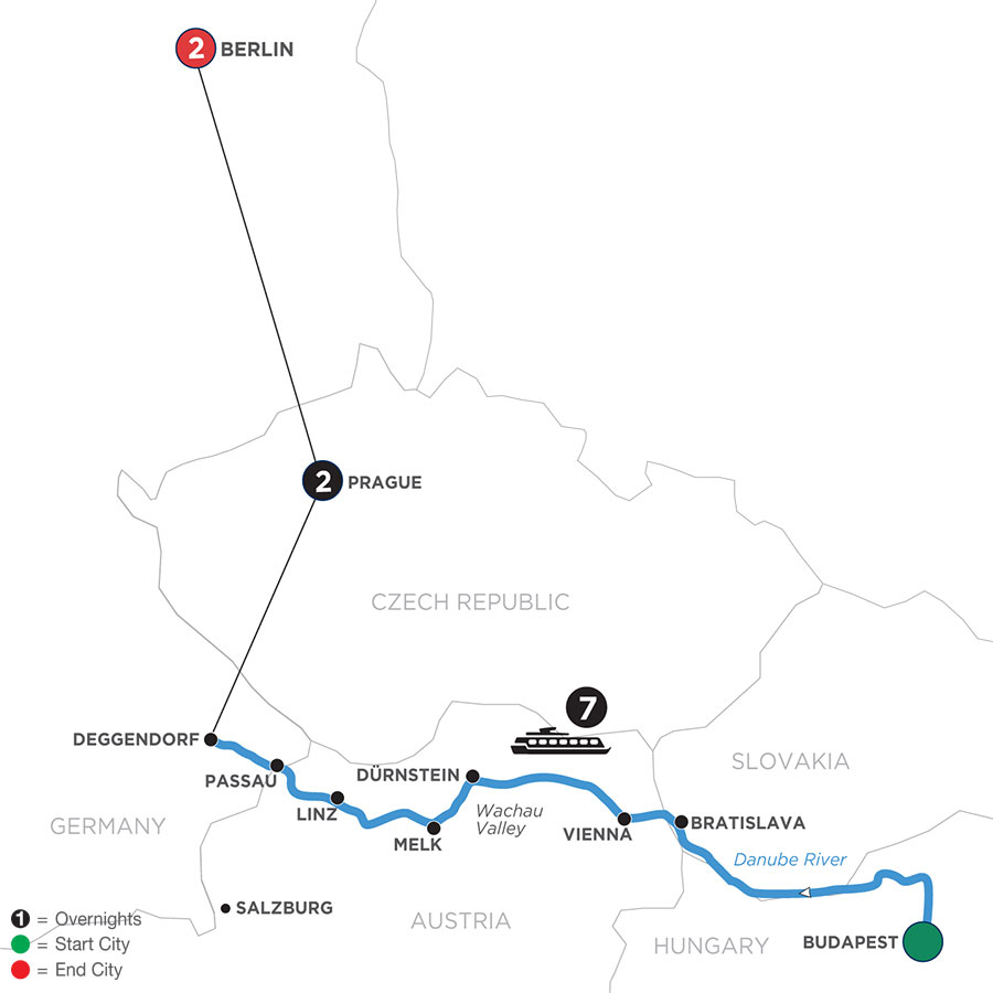 River Cruise Map of Danube Dreams with 2 Nights in Prague & 2 Nights in Berlin (Westbound)