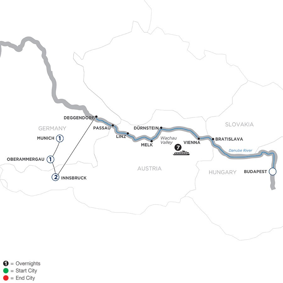 River Cruise Map of Danube Dreams with Oberammergau