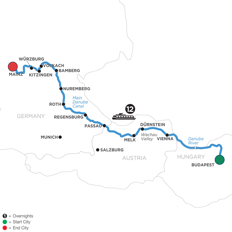 River Cruise Map of Festive Season on Heart of the Danube (Westbound)