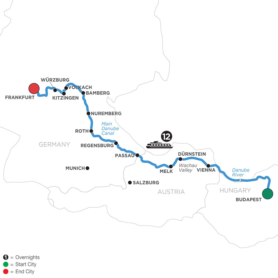 River Cruise Map of Heart of the Danube (Westbound)