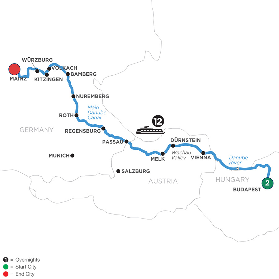 River Cruise Map of Festive Season on Heart of the Danube with 2 Nights in Budapest (Westbound)