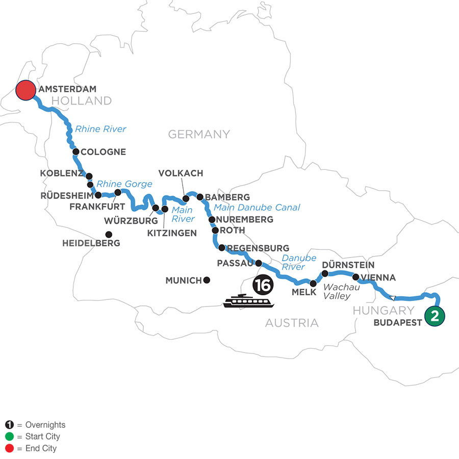 River Cruise Map of Magnificent Rivers of Europe with 2 Nights in Budapest (Westbound)