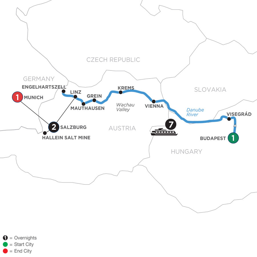 River Cruise Map of Active & Discovery on the Danube with 2 Nights in Salzburg Area & 1 Night in Munich (Westbound)
