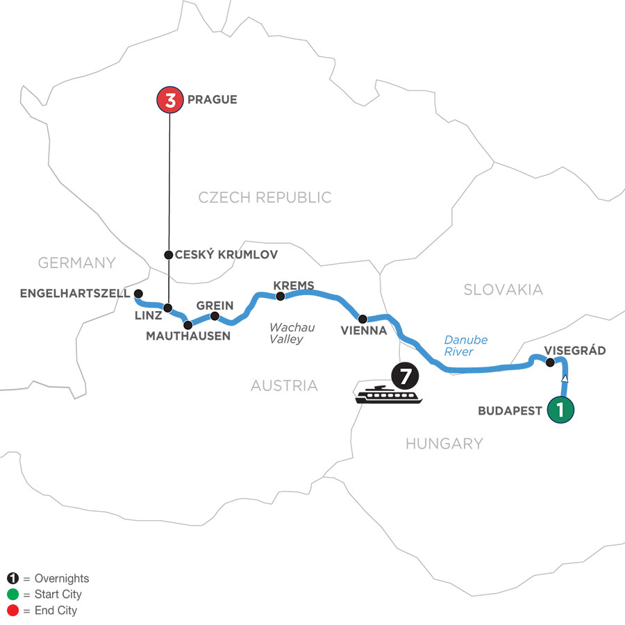River Cruise Map of Active & Discovery on the Danube with 3 Nights in Prague (Westbound)