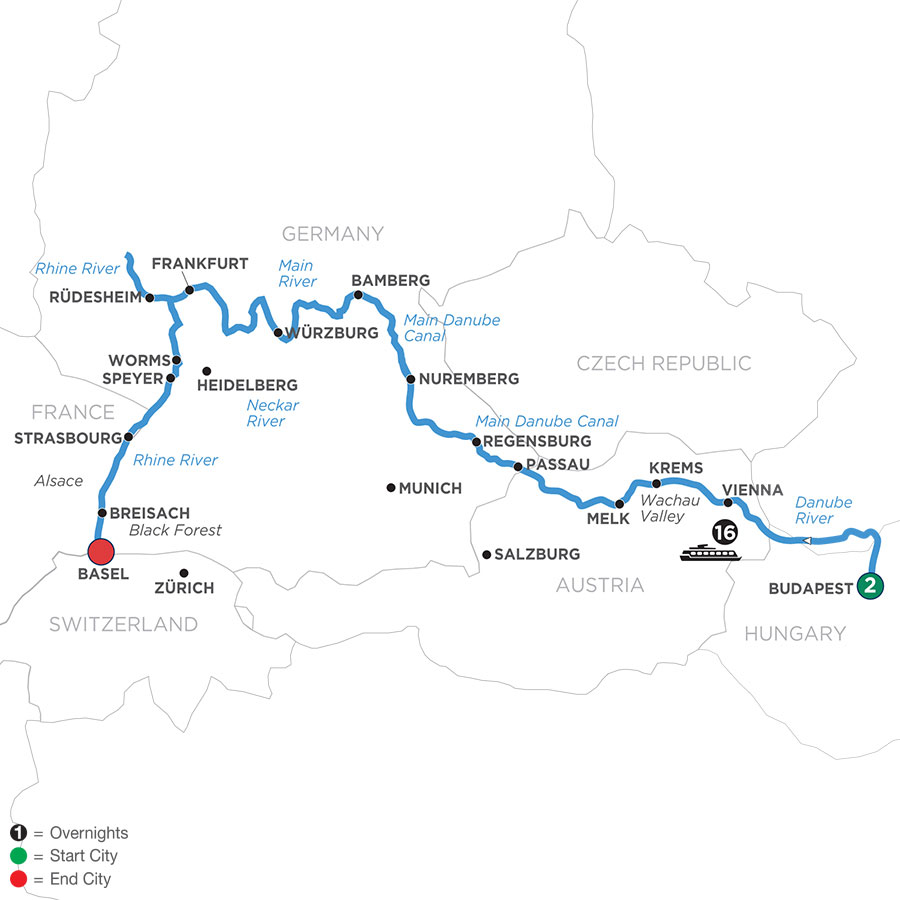 River Cruise Map of Christmastime from Budapest to Basel with 2 Nights in Budapest
