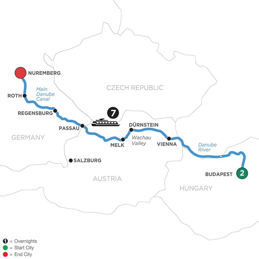 River Cruise Map of Festive Season on The Blue Danube Discovery with 2 Nights in Budapest
