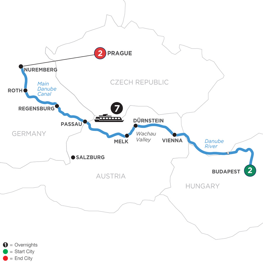 River Cruise Map of Festive Season on The Blue Danube Discovery with 2 Nights in Budapest & 2 Nights in Prague