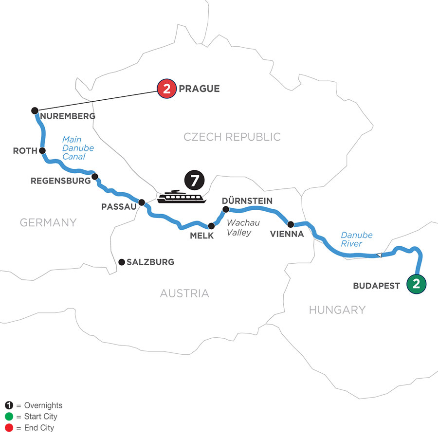 River Cruise Map of The Blue Danube Discovery with 2 Nights in Budapest & 2 Nights in Prague