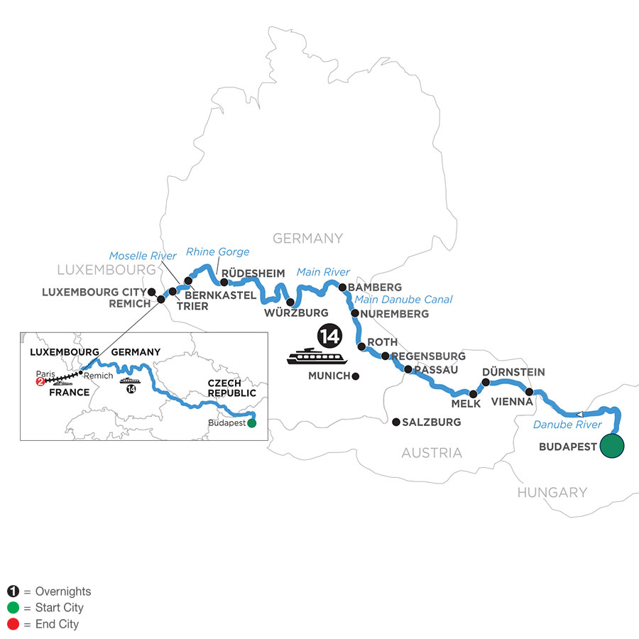 River Cruise Map of Jewels of Central Europe with 2 Nights in Paris (Westbound)