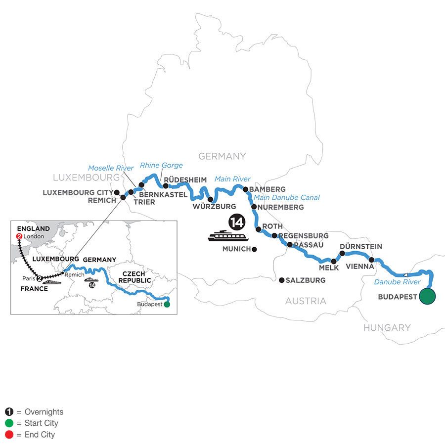 River Cruise Map of Jewels of Central Europe with 2 Nights in Paris & 2 Nights in London (Westbound)