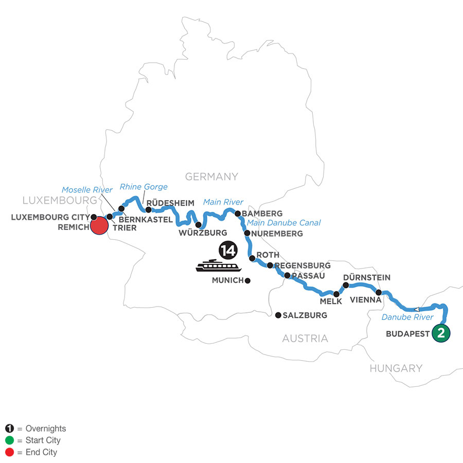 River Cruise Map of Jewels of Central Europe with 2 Nights in Budapest (Westbound)