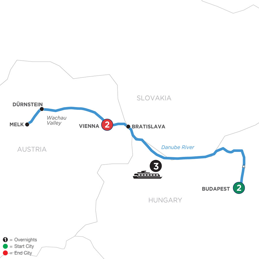 River Cruise Map of A Taste of the Danube with 2 Nights in Budapest & 2 Nights in Vienna (Westbound)