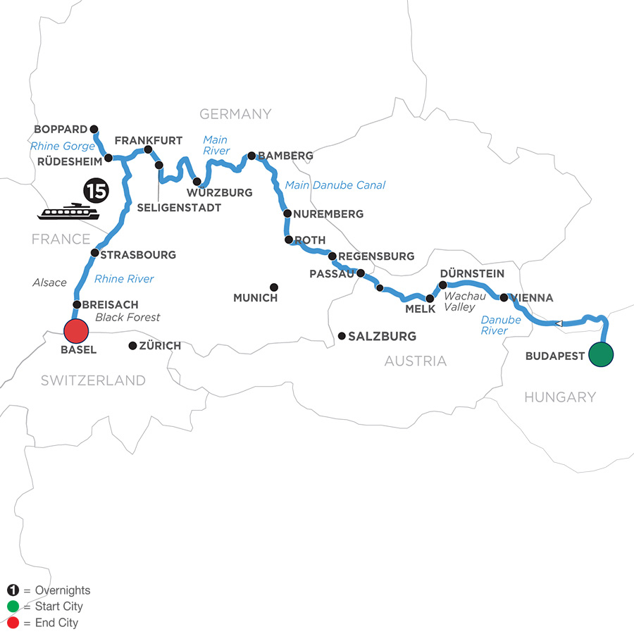 River Cruise Map of Enchanted Europe for Beer Enthusiasts (Westbound)